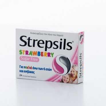 Strepsils Strawberry Sugar Free For Children & Adults  24's