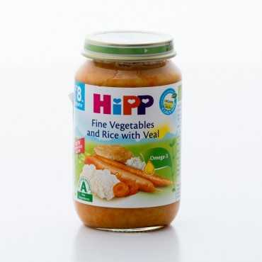 HiPP Fine Vegetables and Rice with Veal, BIO, 220g